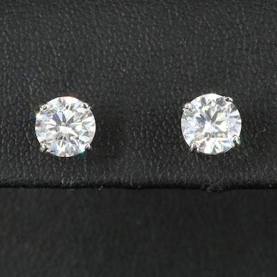 Platinum 2.45 CTW Diamond Stud Earrings with IGI Reports