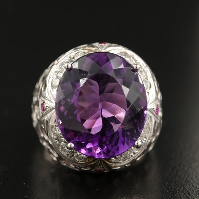 14K 13.28 CT Amethyst, Diamond and Ruby Ring with Openwork Shoulders