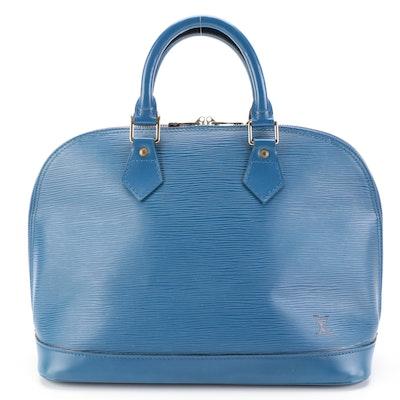 Louis Vuitton Alma Bag in Blue Epi Leather