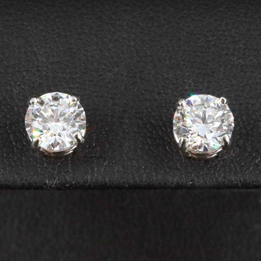 Platinum 2.40 CTW Diamond Stud Earrings with IGI Reports