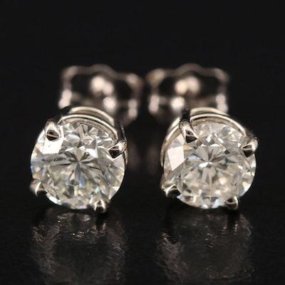 18K 1.40 CTW Diamond Stud Earrings with GIA Diamond Dossier and eReport