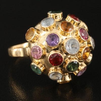 1960s 18K Gemstone Sputnik Ring