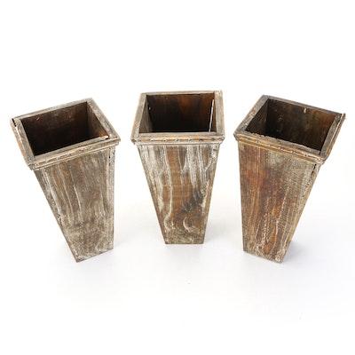 Distressed Finish Wood Vases