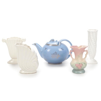 """Hull """"Magnolia"""" Vase, Hall Teapot, and Other Ceramic Vessels"""
