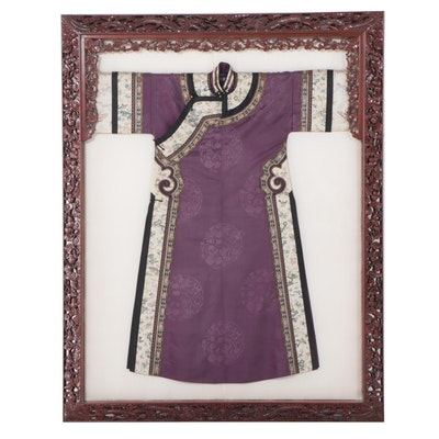 Women's Chinese Silk Embroidered Robe Mounted in Carved Rosewood Frame