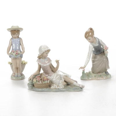 """Lladro """"Skirt Full of Flowers"""", """"Gathering Flowers"""" and """"Admiration"""" Figurines"""