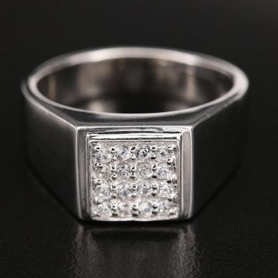 Sterling Silver Pavé Zircon Ring