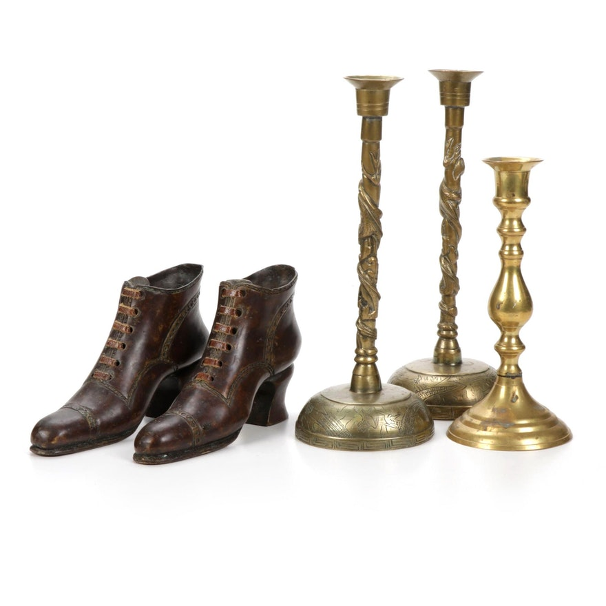 Theodore Alexander  Cast Bronze Shoes with Indian Brass Candlesticks