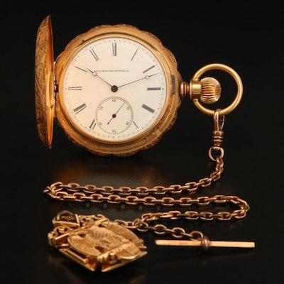 14K Elgin Pocket Watch with 14K Knights Templar Scottish Rite Fob