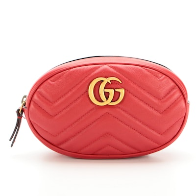 Gucci GG Marmont Belt Bag in Red Matelassé Leather