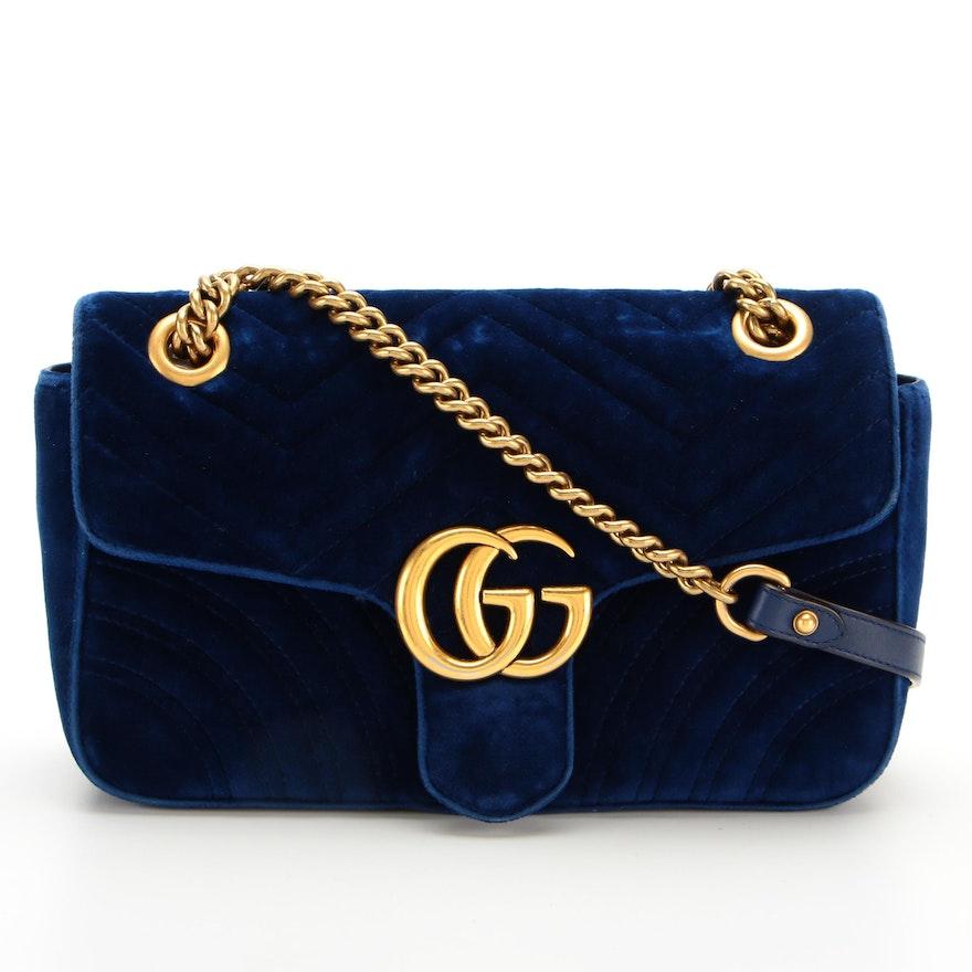 Gucci GG Marmont Shoulder Bag in Cobalt Blue Matelassé Velvet