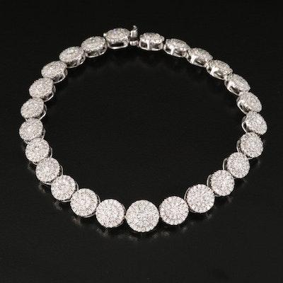 14K 3.96 CTW Diamond Cluster Link Bracelet
