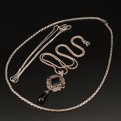 Necklaces Including Box, Rope and Pendant with Black Onyx, Garnet and Marcasite