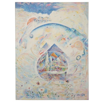 """Ronald D. Newman Monumental Oil Painting """"Earth"""" From the """"Elements"""" Suite, 1979"""