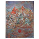 """Ronald D. Newman Monumental Abstract Oil Painting """"Forming Rocks,"""" 1974"""