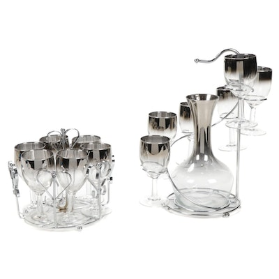 Mid Century Modern Dorothy Thorp Cordials, Carafe and Glass Holders