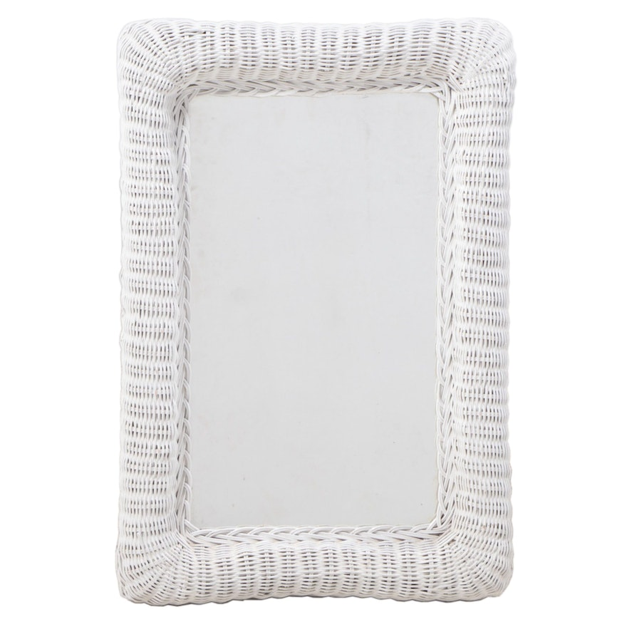 White-Painted Wicker Mirror, Late 20th Century