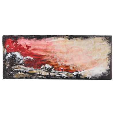 """Jeremiah Caudill Acrylic And Collage Painting """"Blood Sky,"""" 2009"""