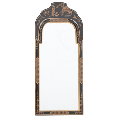 Queen Anne Style Ebonized, Parcel-Gilt, and Chinoiserie-Decorated Mirror