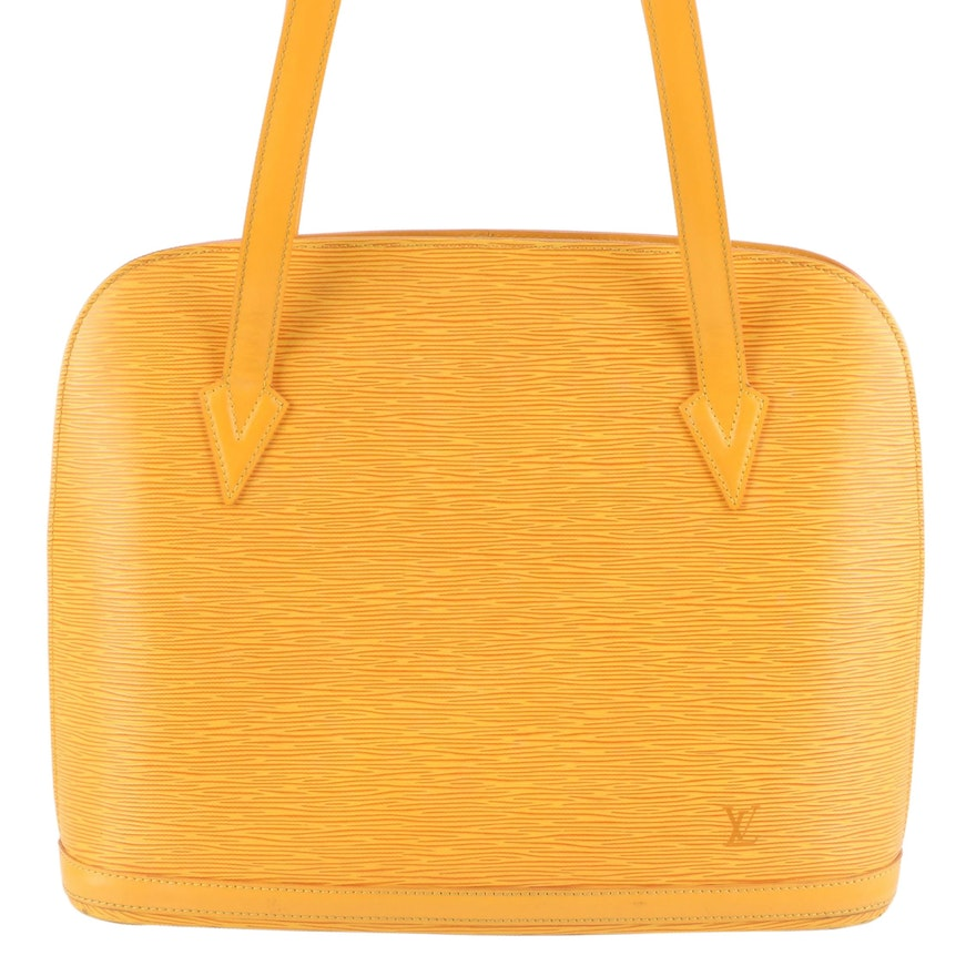 Louis Vuitton Lussac Shoulder Bag in Tassil Yellow Epi and Smooth Leather