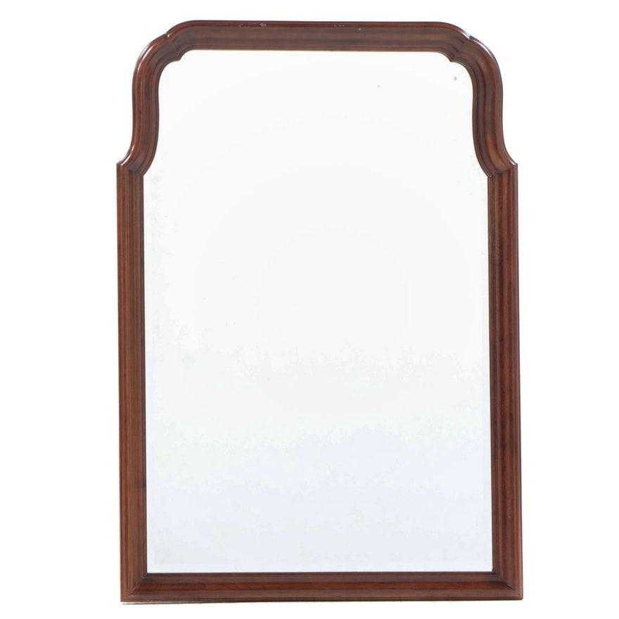 Queen Anne Style Cherrywood-Stained Mirror, Late 20th Century