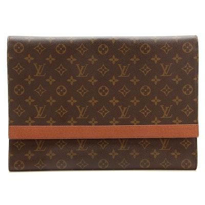 Louis Vuitton Porte Envelope Clutch Purse in Monogram Canvas with Leather Trim