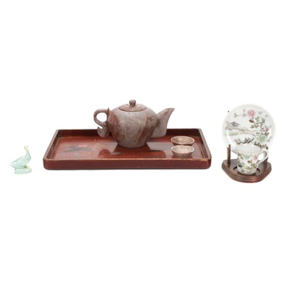 Hand Carved Stone Teapot and Other Asian Style Decor