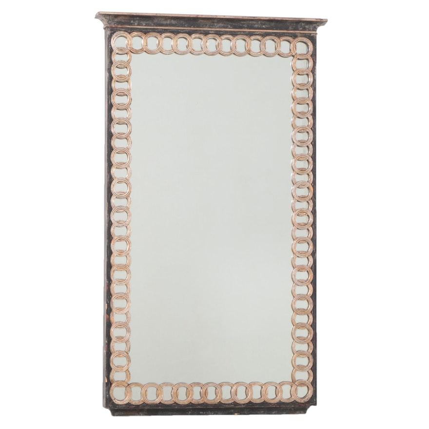 Palladio Neoclassical Style Ebonized and Parcel-Gilt Mirror, 20th Century