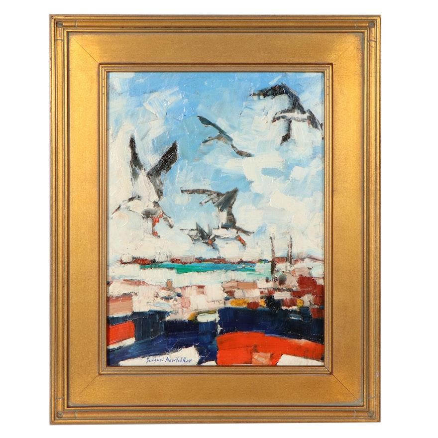 "Serguei Novitchkov Oil Painting ""Seagulls Over the Bay,"" 2020"