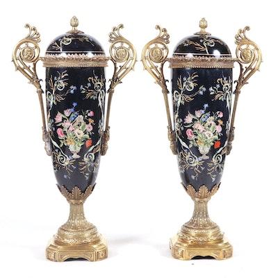 Pair of Rococo Style Ormolu Mounted Ceramic Mantel Vases