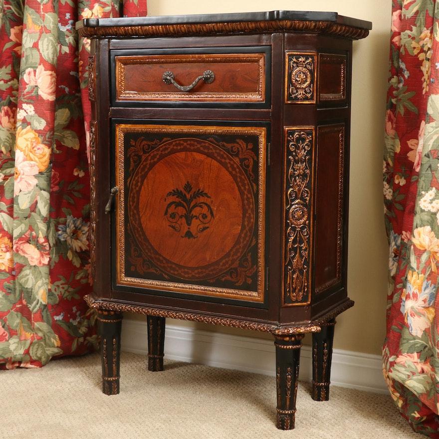 Neoclassical Style Ebonized Wood Cabinet