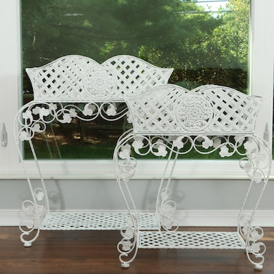 Wrought Iron Basket Weave Planters and Stands