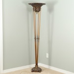 Neoclassical Style Bronzed Metal Torchiere Floor Lamp