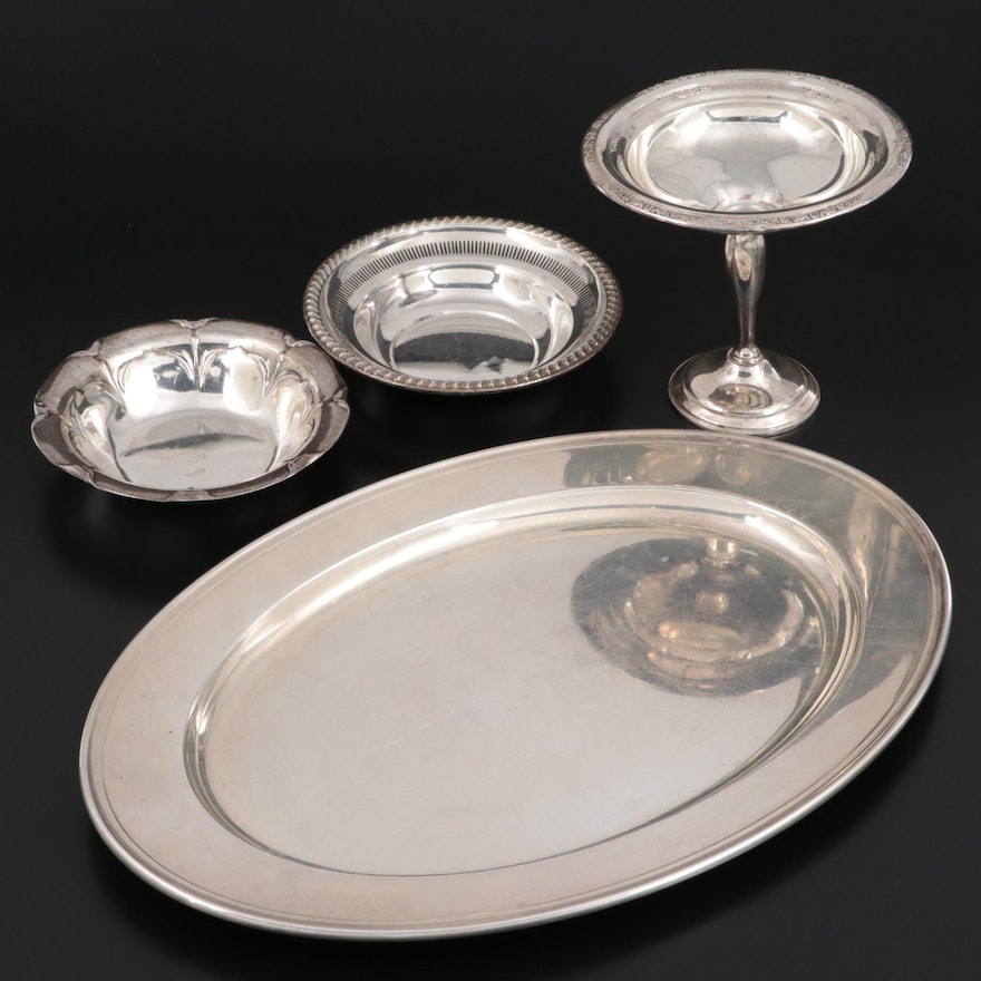 Alvin Sterling Silver Platter with Rogers Bowls and International Compote