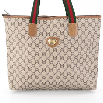 Gucci Plus Web Tote in GG Plus Coated Canvas with Leather Trim