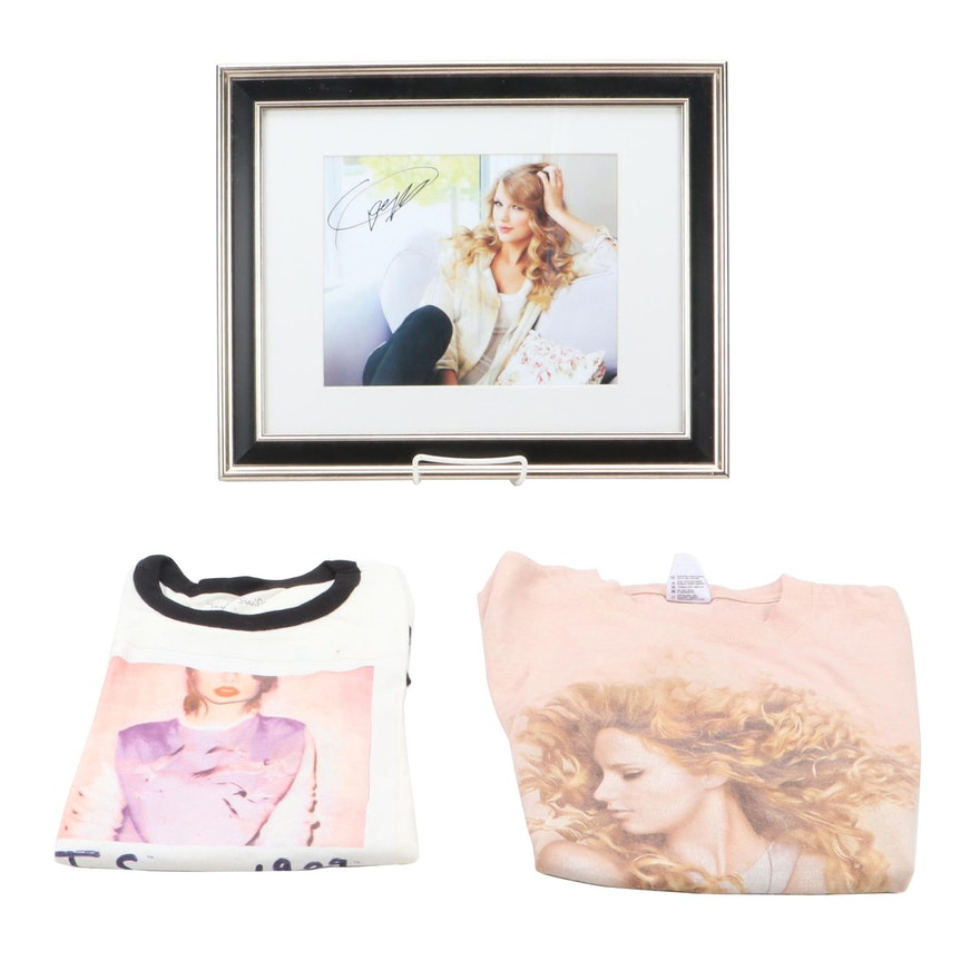 Taylor Swift Framed Signed Photo Print with Two T-Shirts