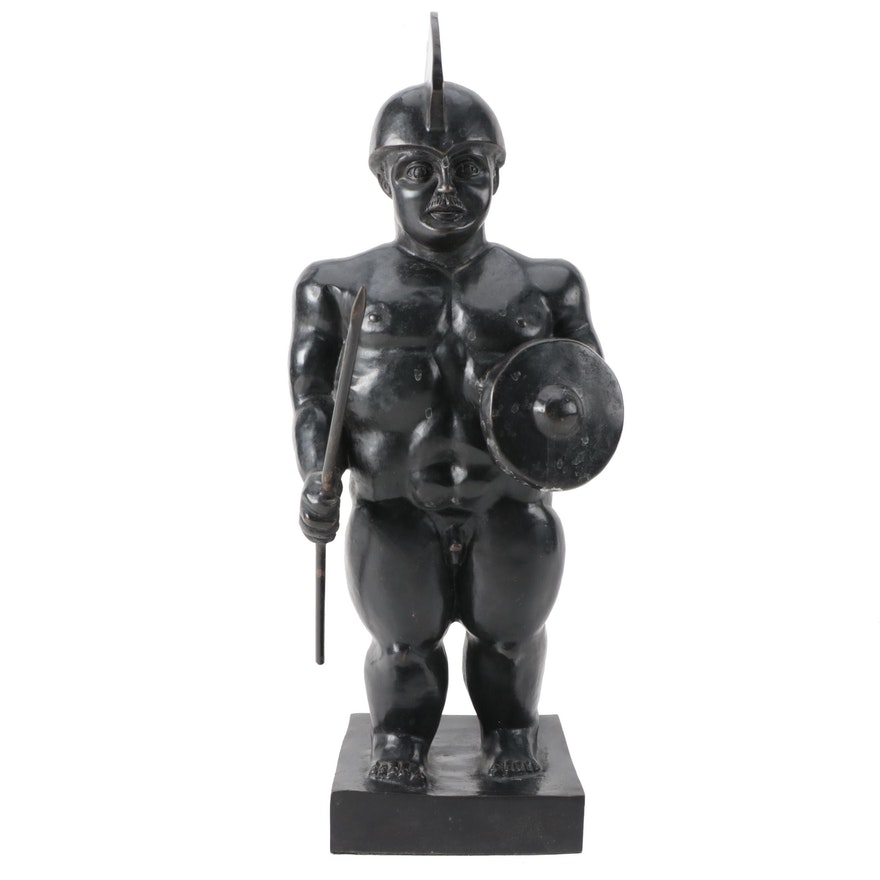 "Cold Cast Bronze Sculpture After Fernando Botero ""Roman Gladiator"""