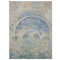 """Ronald D. Newman Monumental Oil Painting """"Water"""" From the """"Elements"""" Suite, 1979"""