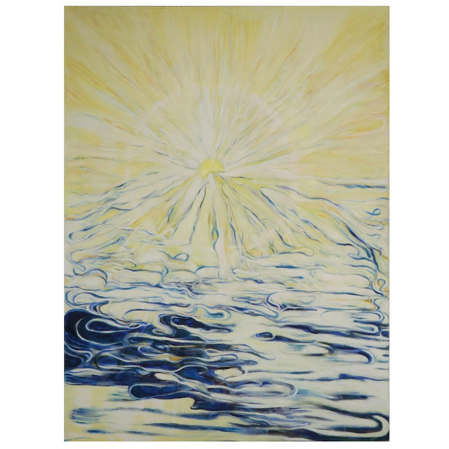"""Ronald D. Newman Monumental Abstract Oil Painting """"Vail of Light"""""""