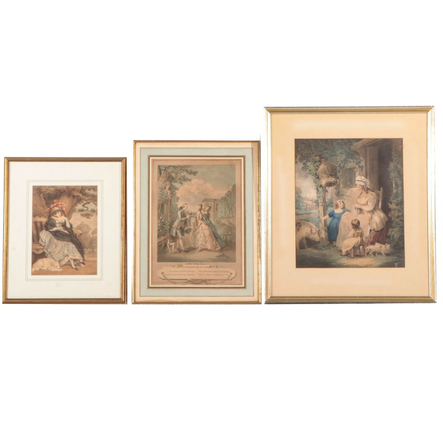 "Francois-Robert Ingouf Stipple Engraving ""La Promenade du Soir"" and More"