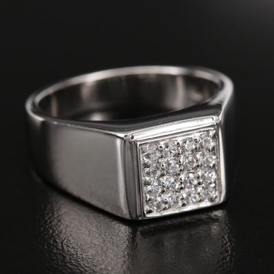 Sterling Pavé Zircon Ring with High Polish Finish