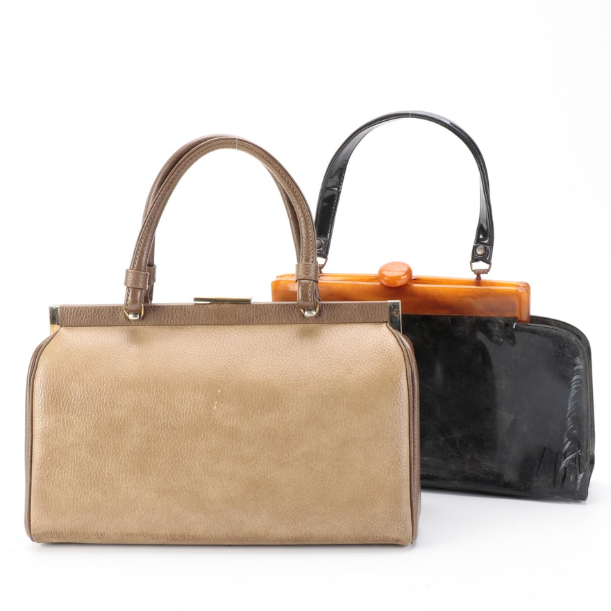 Lucite Frame Patent Leather Bag and Two Tone Leather Bag