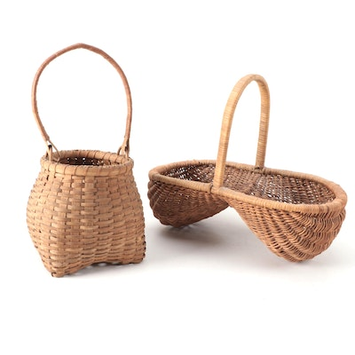 Handcrafted Oak Splint Buttocks and Herb Gathering Baskets, Early 20th C.