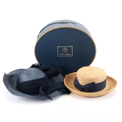 Frank Olive for Saks Fifth Avenue Woven Hat and Brooks Brothers Hat with Box
