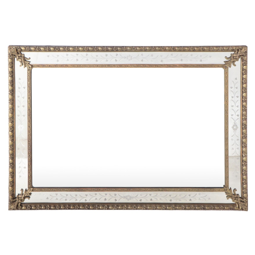 Neoclassical Style Gilt Metal-Mounted and Floral-Etched Mirror, 20th Century