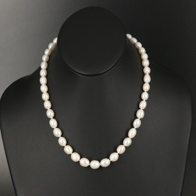 Graduating Pearl Necklace with Sterling Clasp