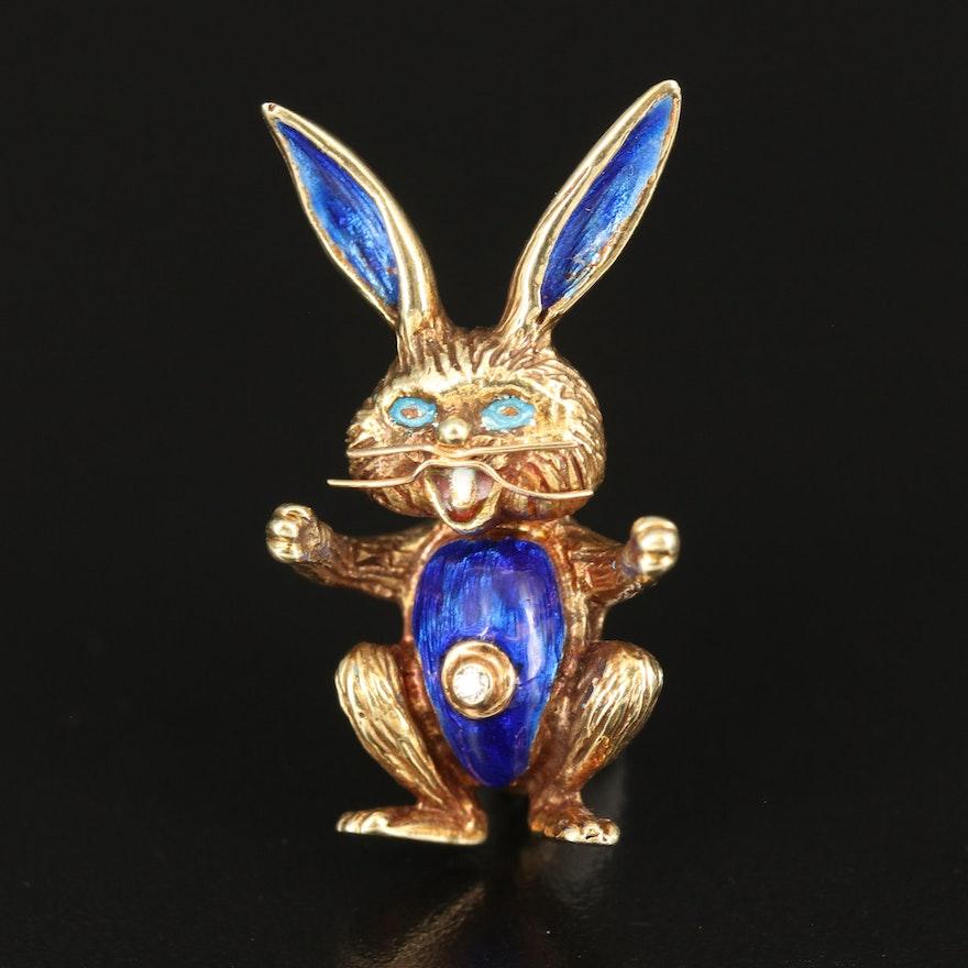 Martine 14K Diamond and Enamel Rabbit Brooch