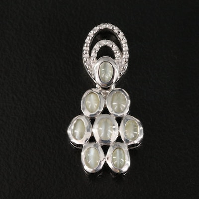 Sterling Cat's Eye Chrysoberyl Articulated Pendant Necklace