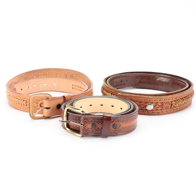 Woven and Tooled Leather Belts