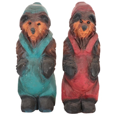 Hand-Carved Polychrome Wood Anthropomorphic Bear Statuettes
